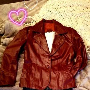Vintage Deep Red Leather Jacket